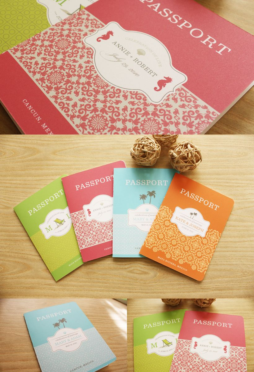 Passport invites for traveling couples