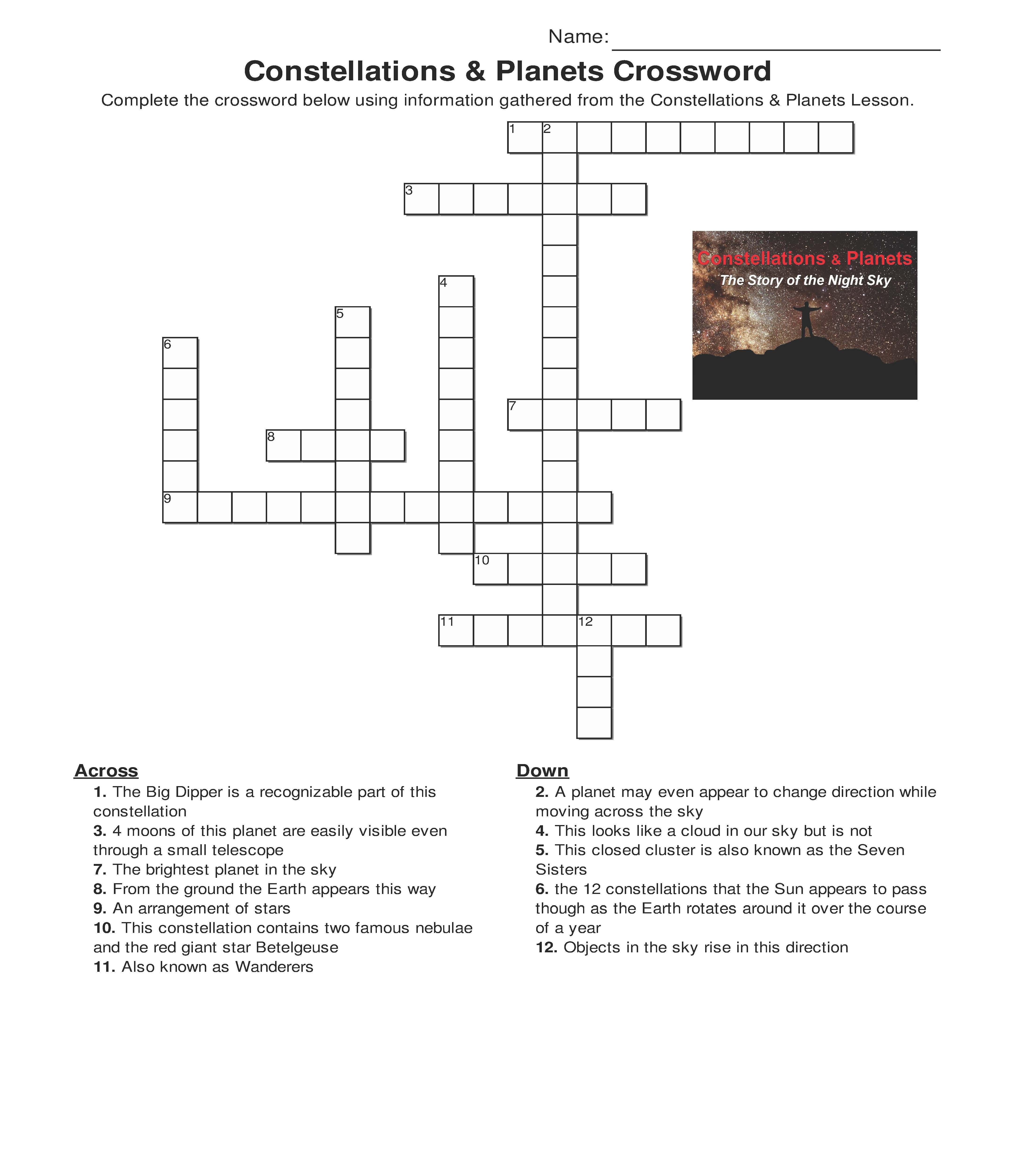 Constellations And Planets Crossword One Of The