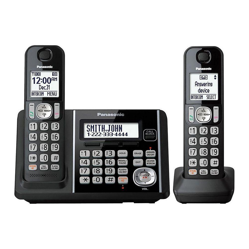 Panasonic Dect 6 0 Cordless Telephone With Answering Machine And Dual Keypad 2 Handsets Kx Tg3752b Cordless Telephone Phone Cell Phones For Sale