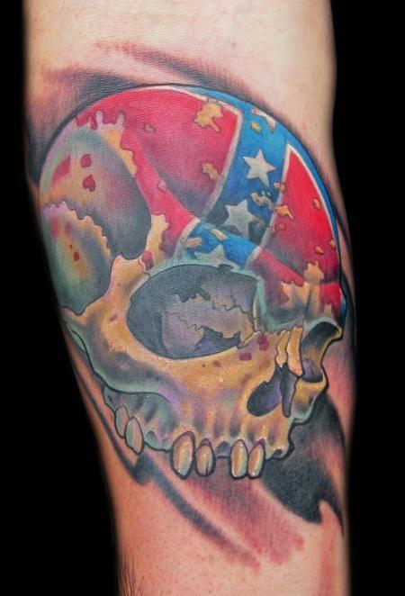 Rebel flag General Lee skull tattoo by Tim Senecal of Easthampton, MA