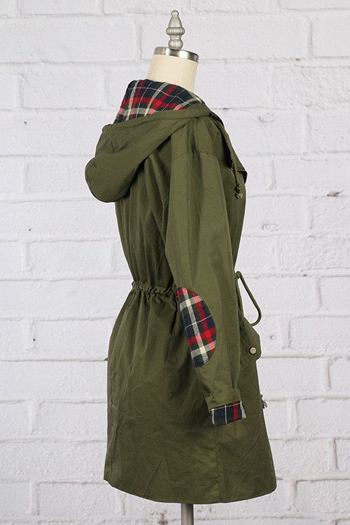 Woven hooded jacket with plaid lining and elbow patches. Front zipper and button closure.OliveSize small is displayed