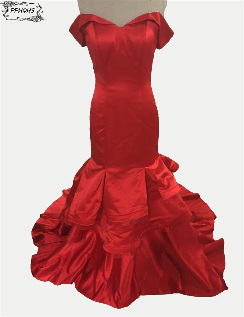 Click to buy ucuc real photo sexy red mermaid prom dresses with