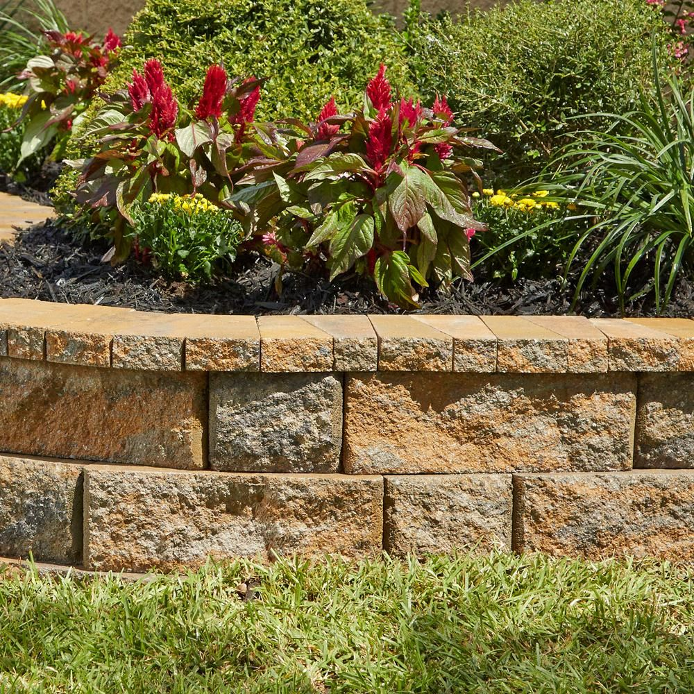 Pavestone Rockwall 2 In X 4 25 In X 9 In Yukon Concrete Wall Cap 320 Pcs 89 Lin Ft Landscaping Retaining Walls Garden Retaining Wall Elevated Gardening