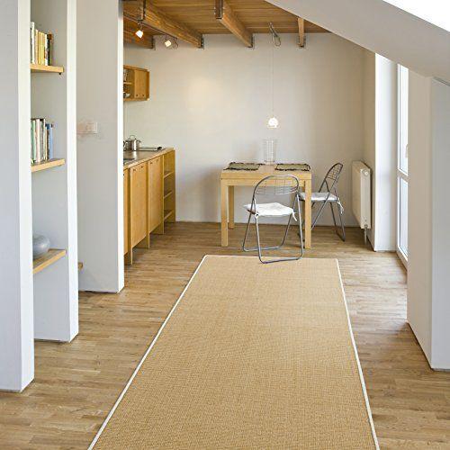 Tapis de couloir sur mesure Casa Pura® Salvador   tissé en fibres naturelles 100% sisal   11 couleurs   antidérapant   bordure coton blanc…