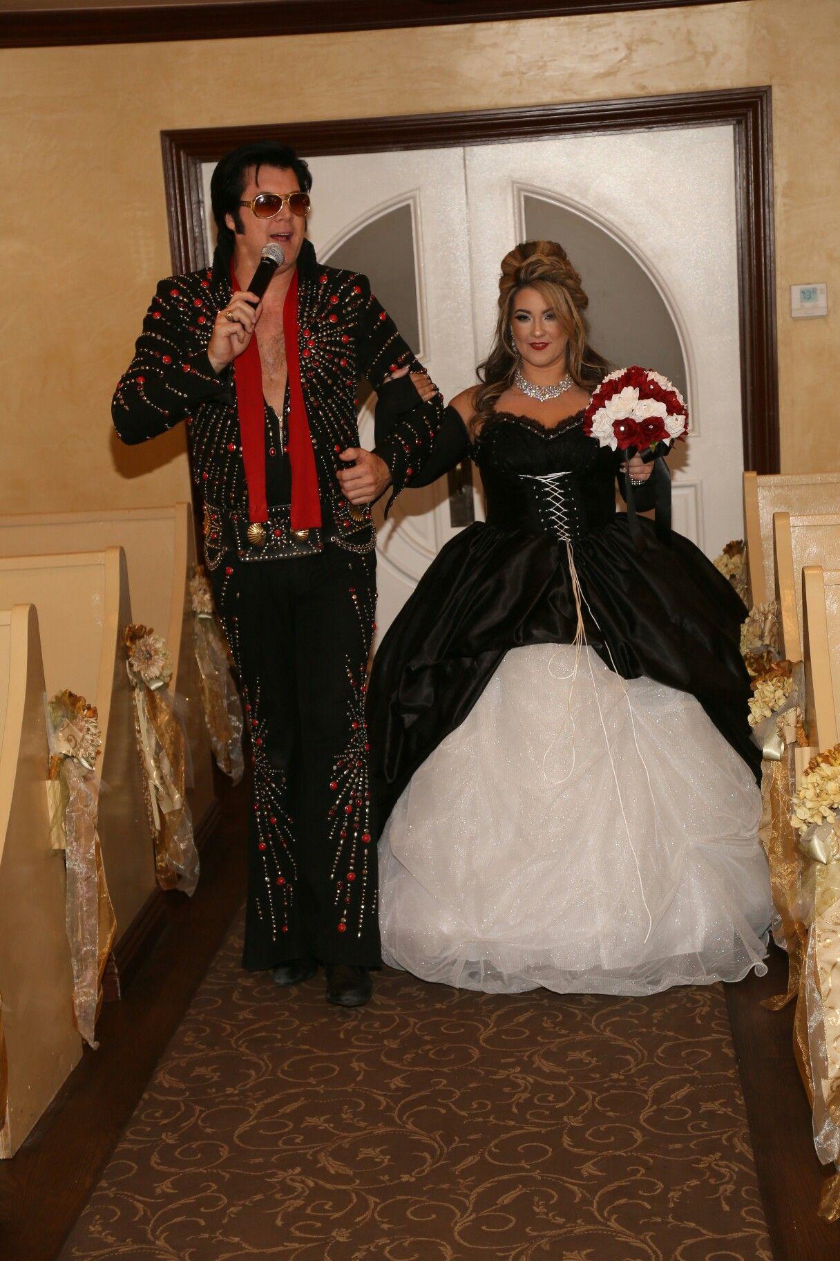 Las vegas elvis wedding black and white ball gown wedding