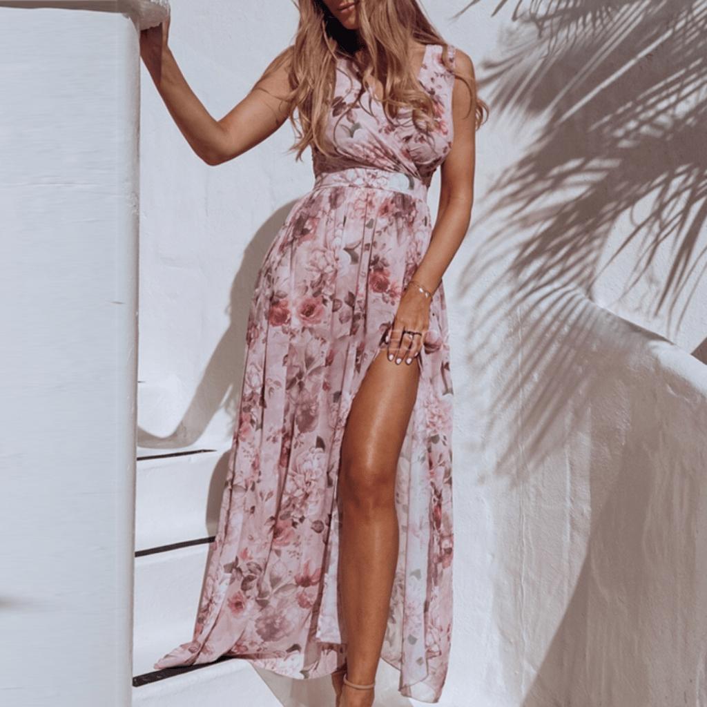 Chiffon Floral Maxi Dress Sleeveless Summer Dresses Maxi Dress Floral Chiffon Maxi Dress Chiffon Summer Dress [ 1024 x 1024 Pixel ]