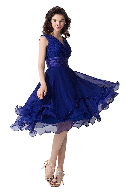 Victory Bridal Einfach Tief V Ausschnitt Abendkleider Ballkleider  Brautjungfernkleider kurzes Chiffon-32 Blau 8610c19d69
