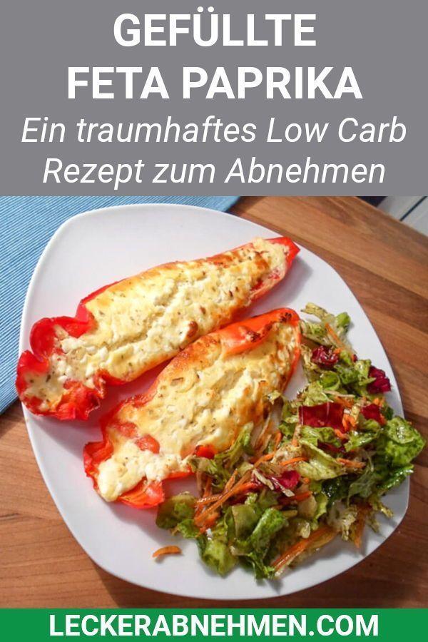 Gefüllte Feta Paprika (Low Carb) #vegetarischeernährung Dieses vegetarische Paprika Rezept ist Low
