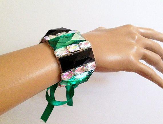 green black and aurora borealis rhinestone bracelet