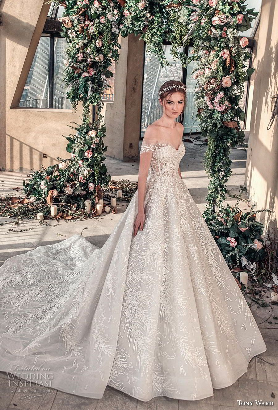 tony ward mariee 2019 off the shoulder sweetheart neckline full  embellishment romantic princess ball gown a line wedding dress chapel train  (2) mv -- Tony ... ac204d6d1c16