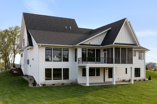 Best White Siding Home With Black Windows And Charcoal Grey 400 x 300