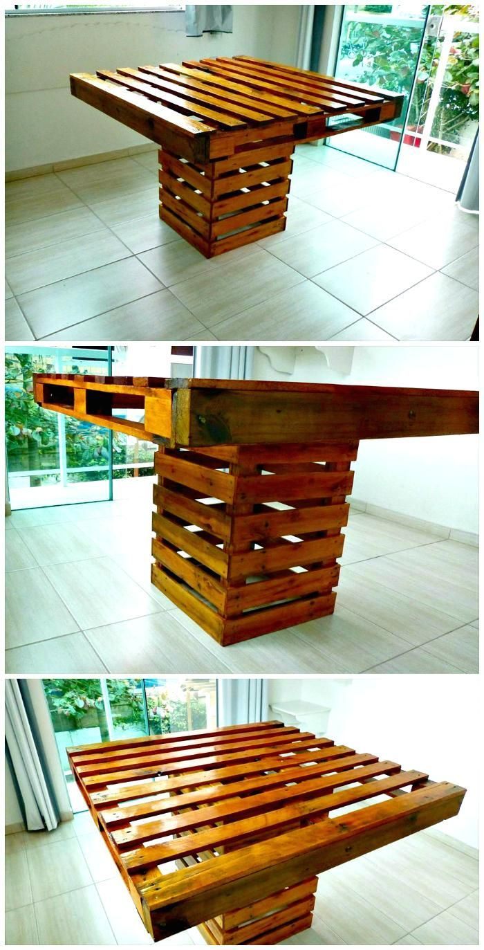 Square Top Pallet Dining Table | Pallet dining table ...
