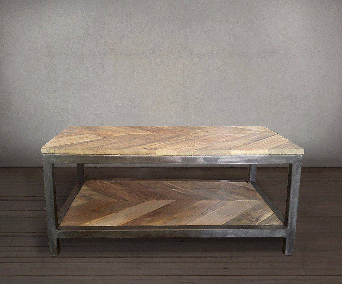 - Reclaimed Wood And Metal Coffee Table Two Tier, Chevron Pattern