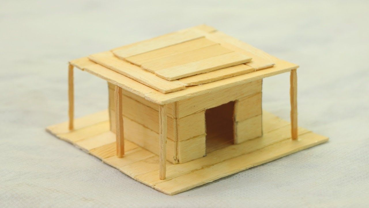 How to make a popsicle stick house - Wooden Diy House | DIY AND ...