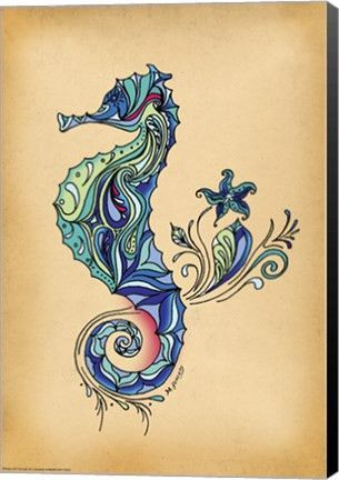 Seahorse Animal Canvas Wall Art Print by Green Girl Canvas | Tattoo ...