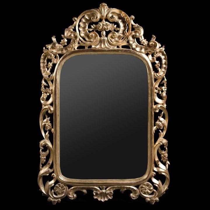 Miroir baroque fleurs bois sculpt dor l 39 or fin peut for Miroir hauteur 160