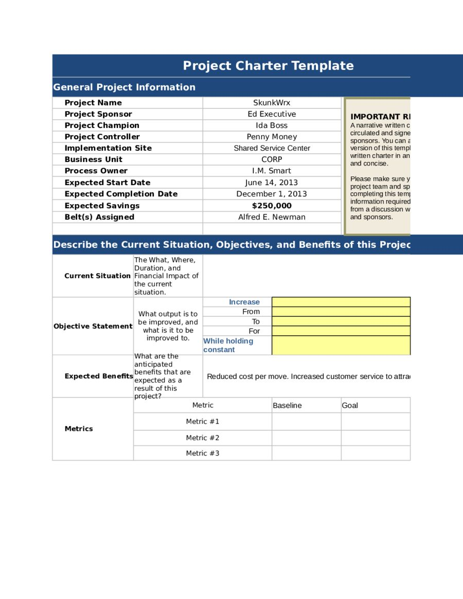 The excellent 2020 Project Charter Template Fillable