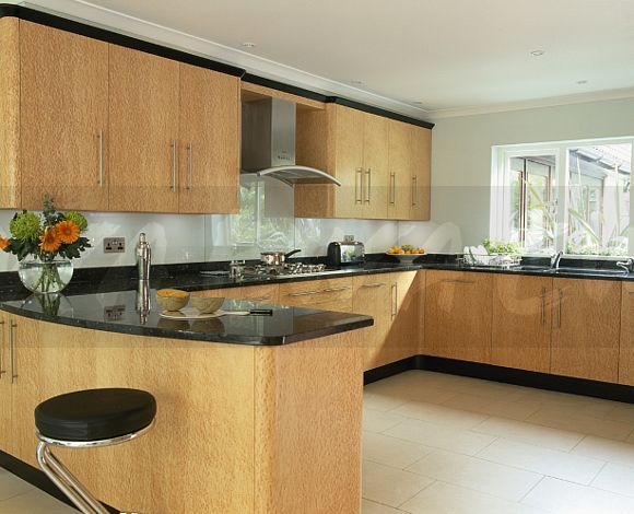 Cream floor tiles black granite worktop google search for Kitchen units and worktops