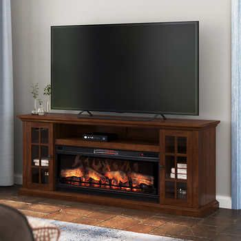 Tresanti Grant Tv Console With Classic Flame Electric Fireplace In