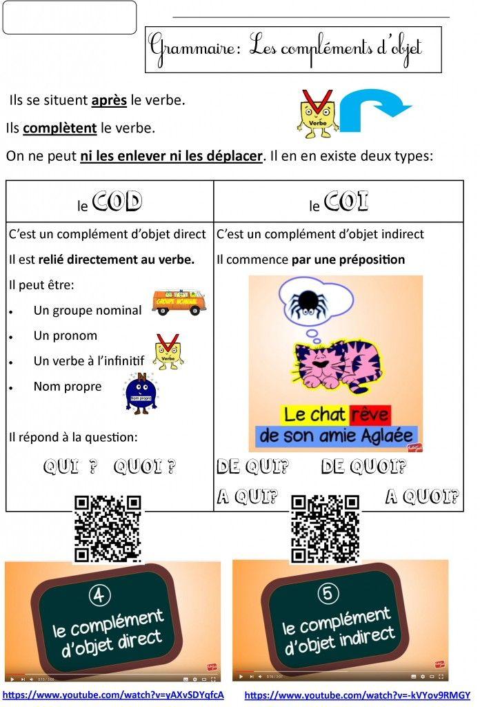 Grammaire CE2 CM1 CM2: Les compléments d'objet COD COI | Le BLOG de Monsieur Mathieu