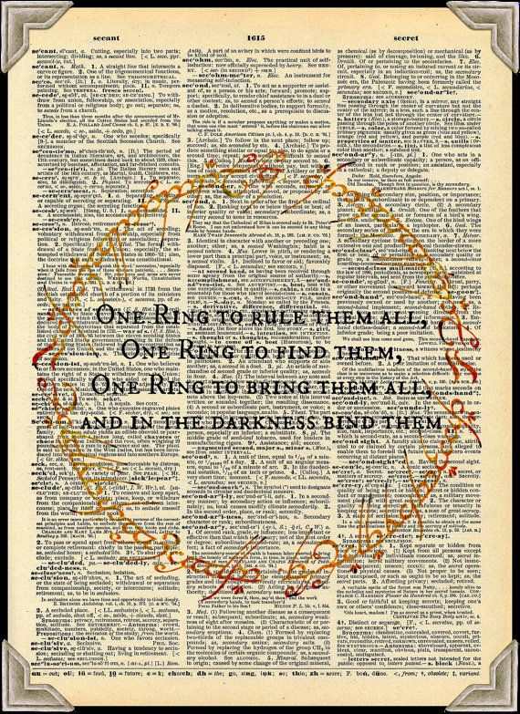 One Ring To Rule Them All Quote Page Number Buy Any 2 Prints Get 1 Free One Ring To Rule Them All Lord Of The Rings Vintage Dictionary Art Vintage Dictionary Dictionary Art Dictionary Art Print