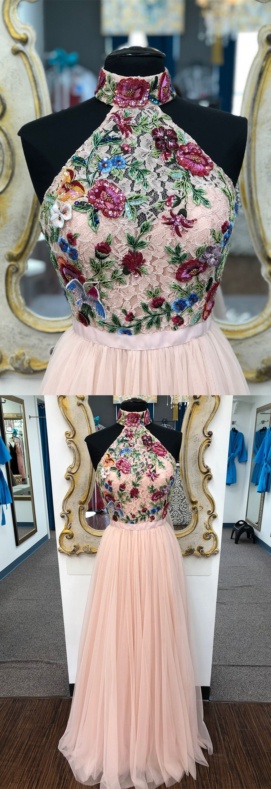 Elegant high neck pink long prom dress with floral embroidery prom