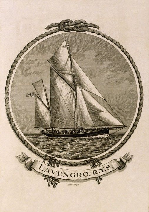Bookplate of a yacht with rope border by C. Bird (1904)