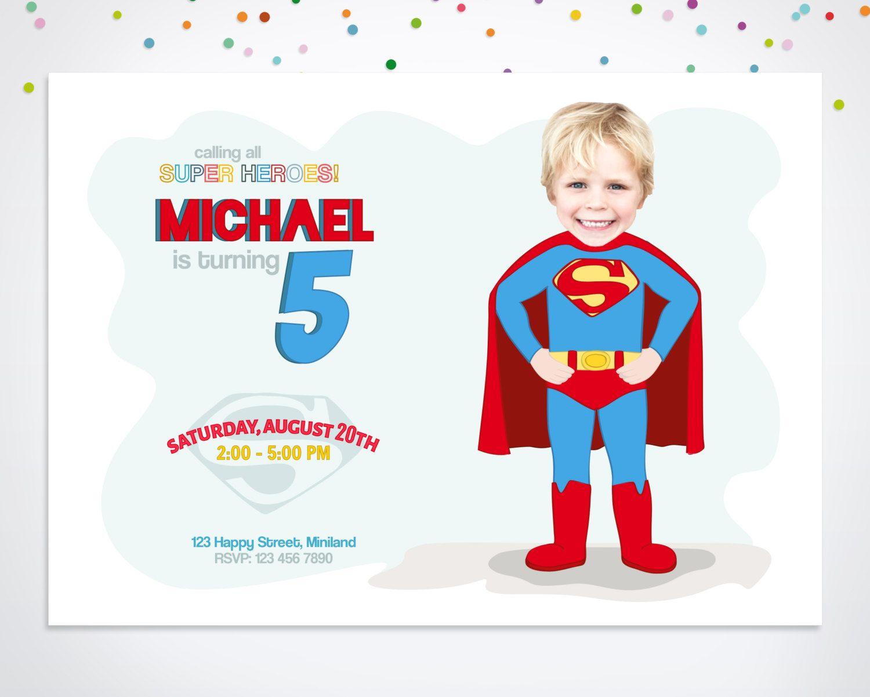 Superhero Invitation, Superman Party Invitation, by happyminiyou on Etsy