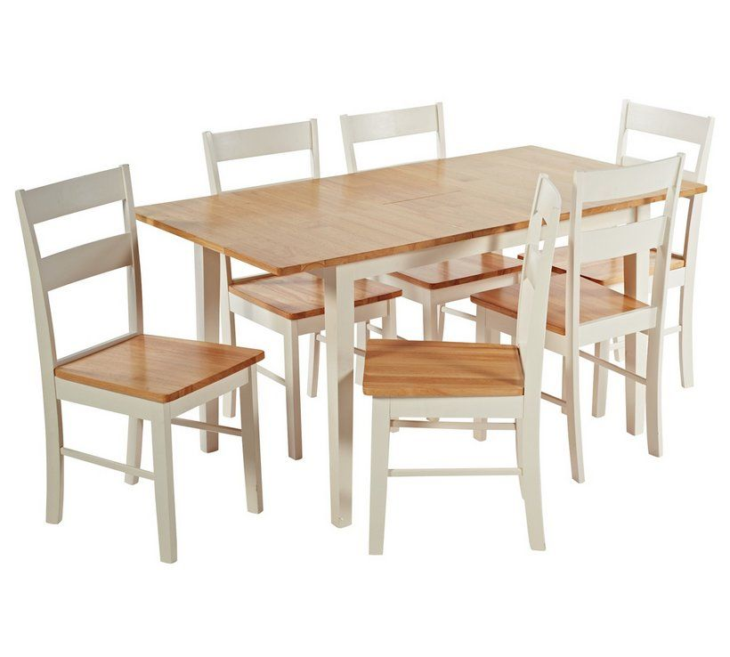Buy Argos Home Chicago Solid Wood Extending Table & 6