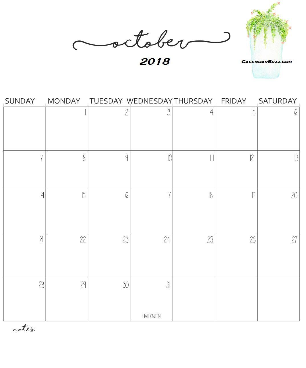 Calener October: Monthly Wall Calendar 2018 October