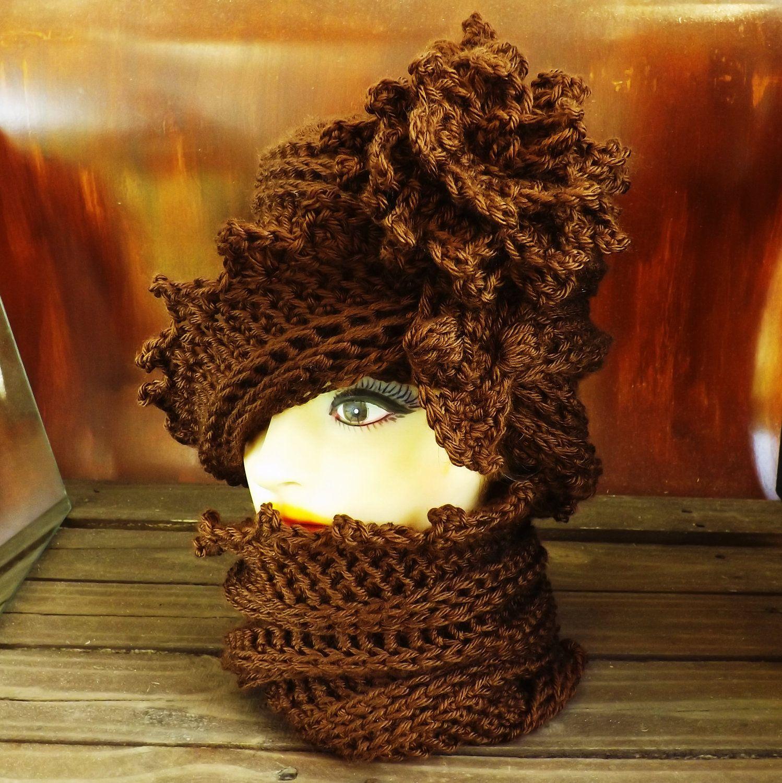 Crochet Hat Womens Hat Infinity Scarf Crochet Flower and Scarf ...