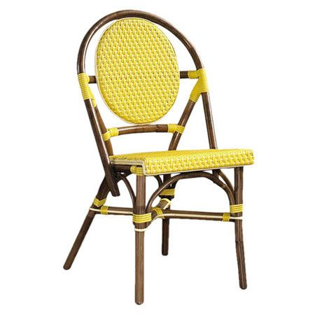 plantation indoor/outdoor rattan side chair in yellow - joss & main