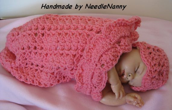 Crochet Baby Cocoon Bubble Gum Pink Swaddle Sack Cuddle Sack Baby ...