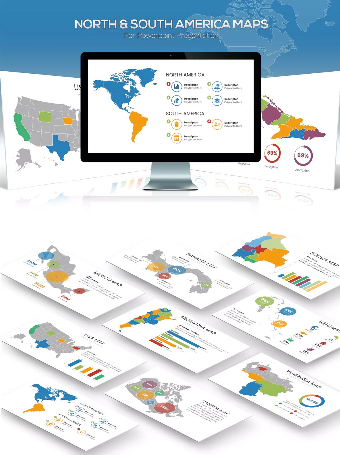 north south america maps for powerpoint presentation template