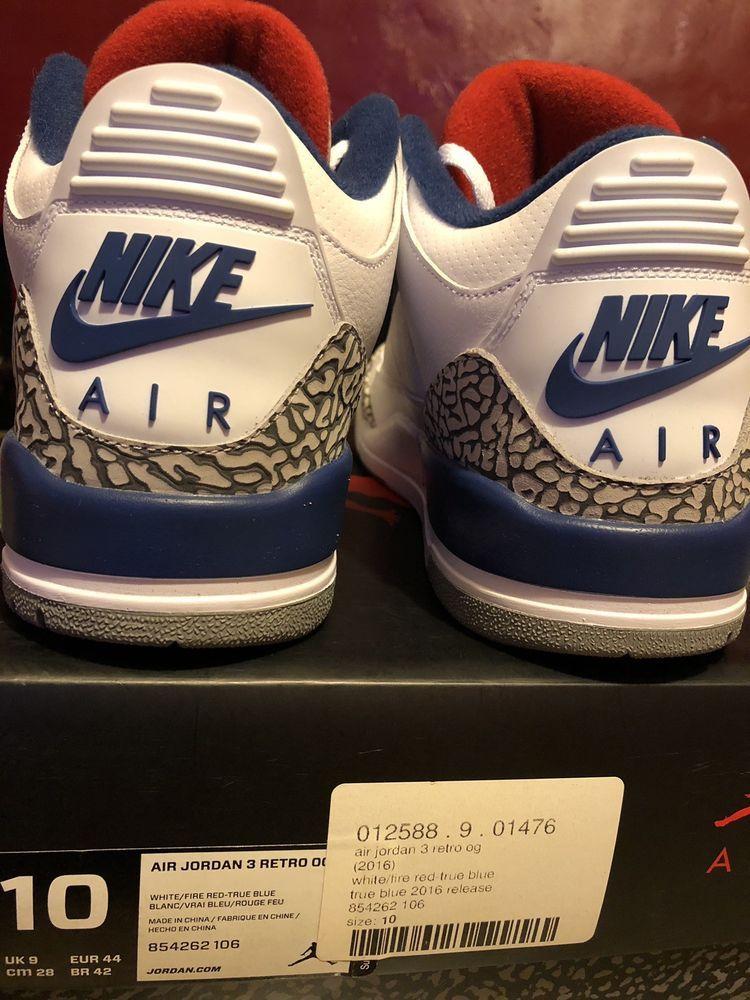 Nike Air Jordan 3 True Blue Size 10 With Receipt III White OG 2016 ... 4ffde6a66