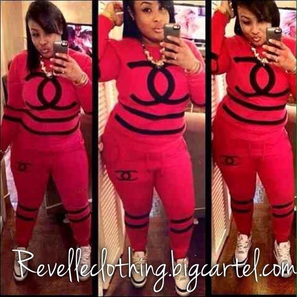 Black Chanel Sweat Suit Image Of Channel Sweat Suit Things To