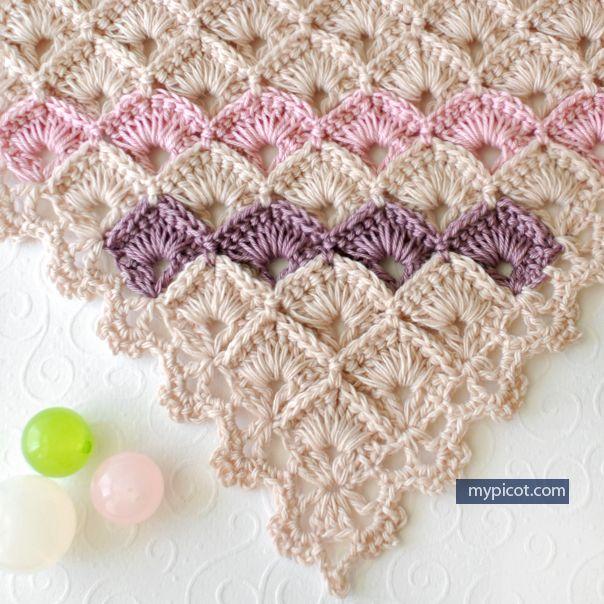 Triangle Shawl Box Stitch Crochet Free Pattern Free Crochet