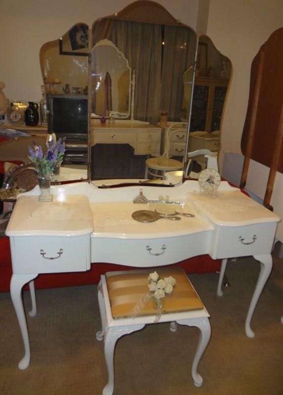 Lovelyqueen Anne Provincial Refurbished White Dressing Table 1 Brisbane Ebay