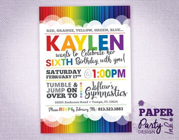 rainbow birthday party 5 x 7 invitation rainbow party invitation