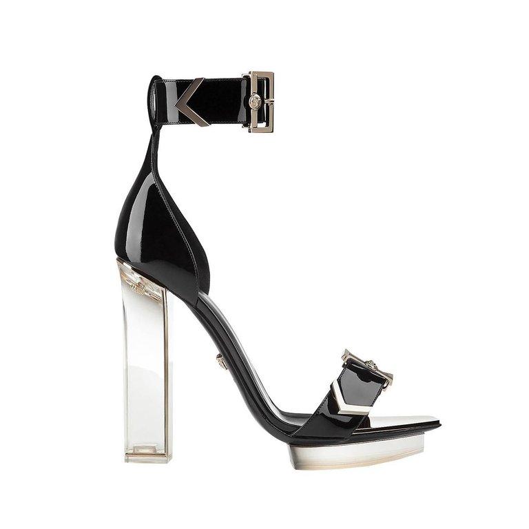 New Versace Black Patent Leather Plexi Platform Sandals Black Patent Leather Shoes Black Platform Sandals Black High Heel Sandals