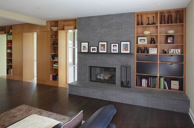 Modern Family Rooms, Fireplace With Shelving On One Side