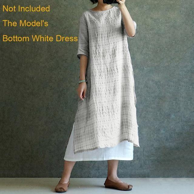 a1c058fd0cd ZANZEA Plus Size Women Blouse Vintage Linen Top 2018 Summer Long Sleeve  Plaid Split Baggy Blusa Camisa Feminina Oversized Shirt