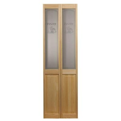 Pinecroft 29 5 In X 78 625 In Pantry Glass Over Raised Panel 1 2 Lite Decorative Pine Wood Interior Bi Fold Door 874626 Glass Bifold Doors Bifold Door Hardware Bifold Doors