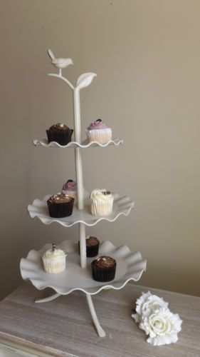 Large 3 Tier Cake Stand Bird Vintage French Chic Cup Cake