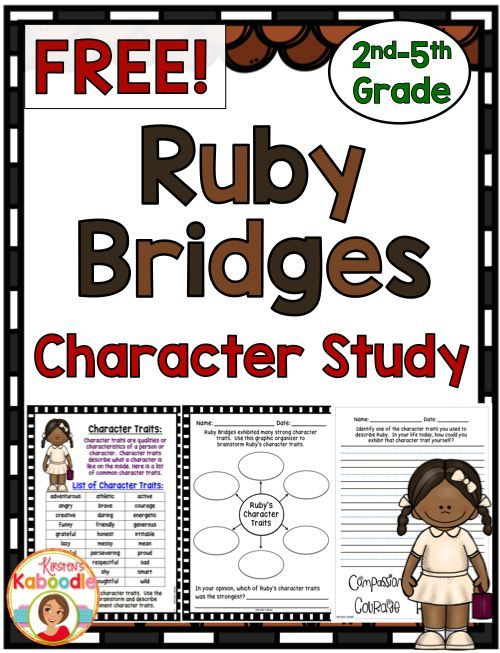 FREE Character Study with Ruby Bridges as the STAR! Each page helps - copy free coloring pages for ruby bridges