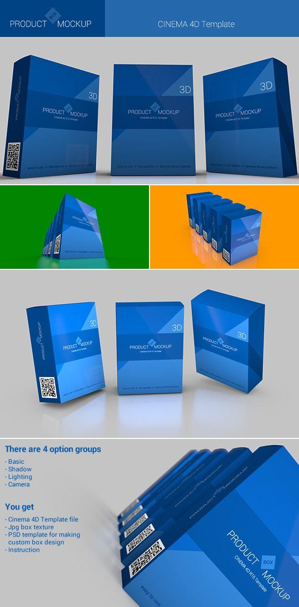 3D product Box Mockup - Cinema 4D R15 Template | MEDICAL DESIGN