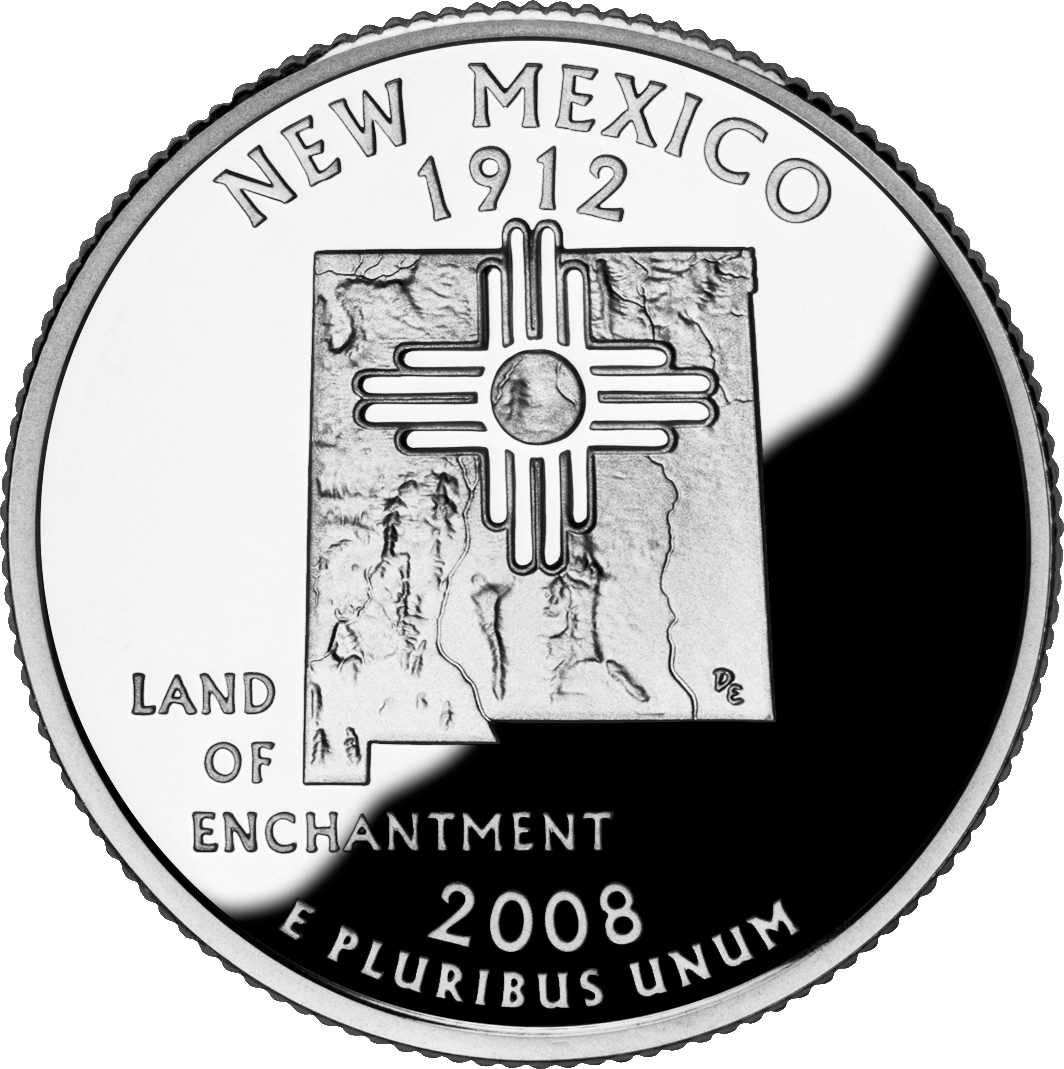 State quarters google search coin collection pinterest new mexicos quarter features the state motto land of enchantment and an outline of new mexico with zia sun symbol buycottarizona