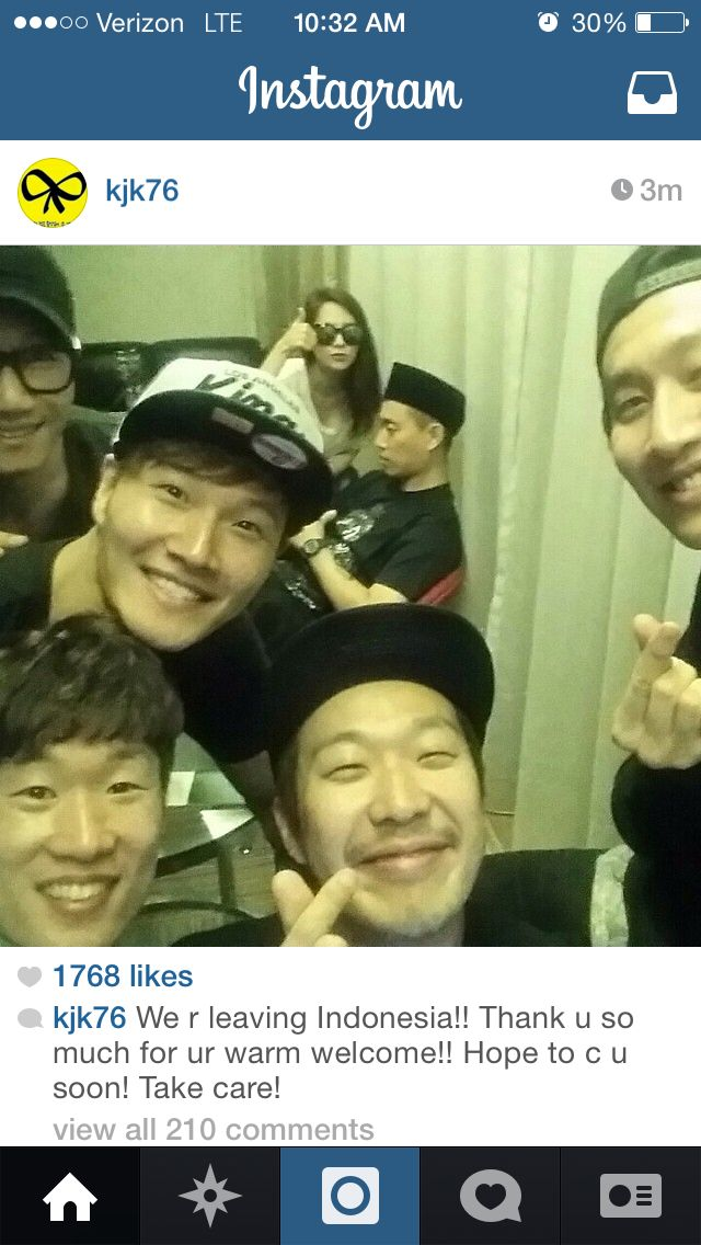 Jong Kook's Instagram  Running Man leaving Indonesia    Fighting