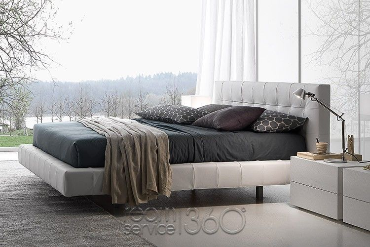 Omega leather bed by presotto is an alluring contemporary bedroom solution suggestive of cozy comfort and optimal functionality