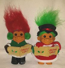 "5"" Russ Caroler Trolls Boy Girl Christmas Very Good Condition"